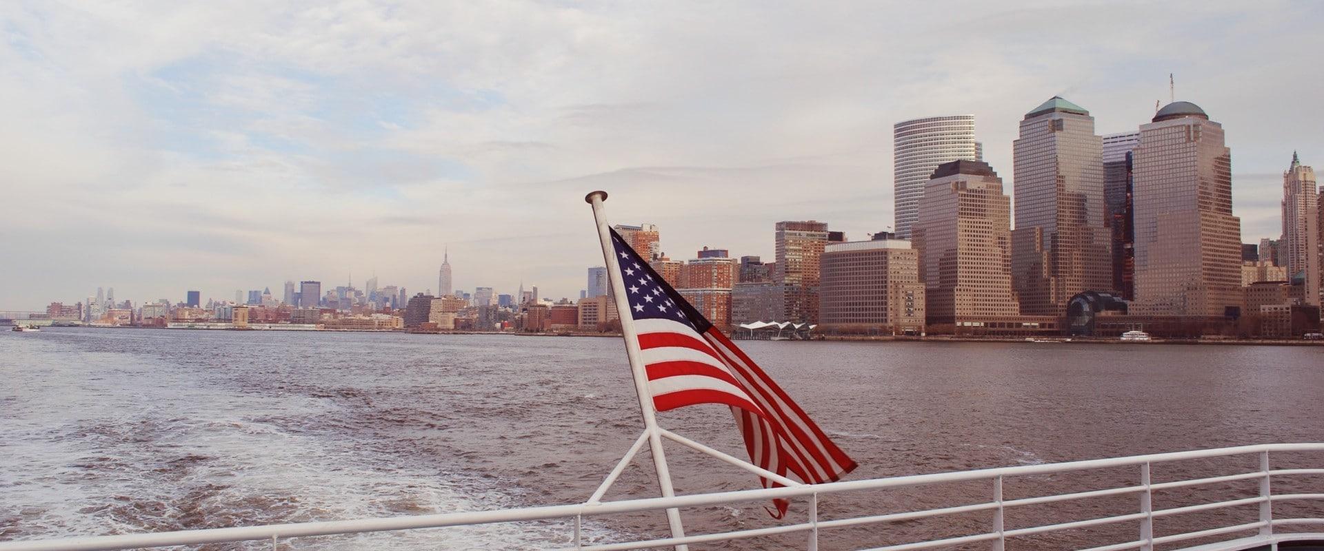 us flag on boat